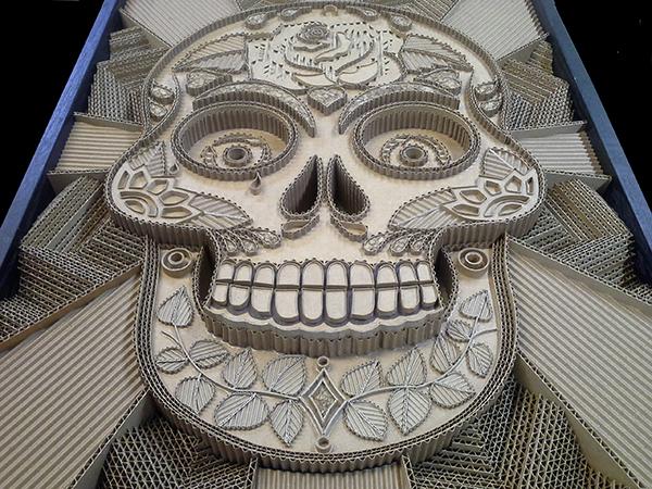 cardboard art of skull