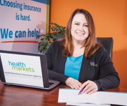 Nicole Sherwood of HealthMarkets travels across Northeast Ohio to help clients meet their insurance coverage needs