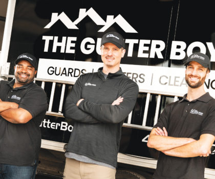 If you have a clogged gutter, call The Gutter Boys, who are trained in ladder safety and use them every day