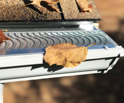The Valor gutter guard from The Gutter Boys features a raised S-curve micro-mesh which allows the wind to flow under debris and blow it away