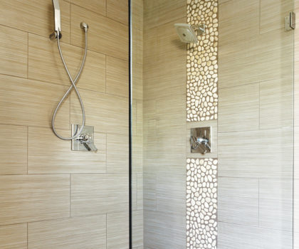 Floorz can deconstruct your old fiberglass shower and replace it with stunning new tile, complete with doors and fixtures