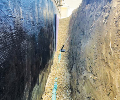 Olivieri and Son specialize in waterproofing foundations by digging down to the footer and then thoroughly sealing the wall before backfilling