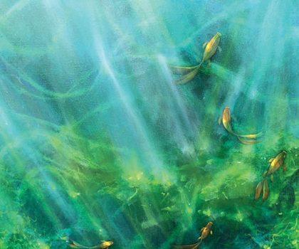 Oil 36X36 Green Algae By Mark Badzik